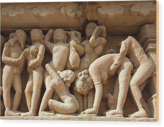 Eine der zahllosen Szenen der Tempelanlage in Khajuraho, Indien